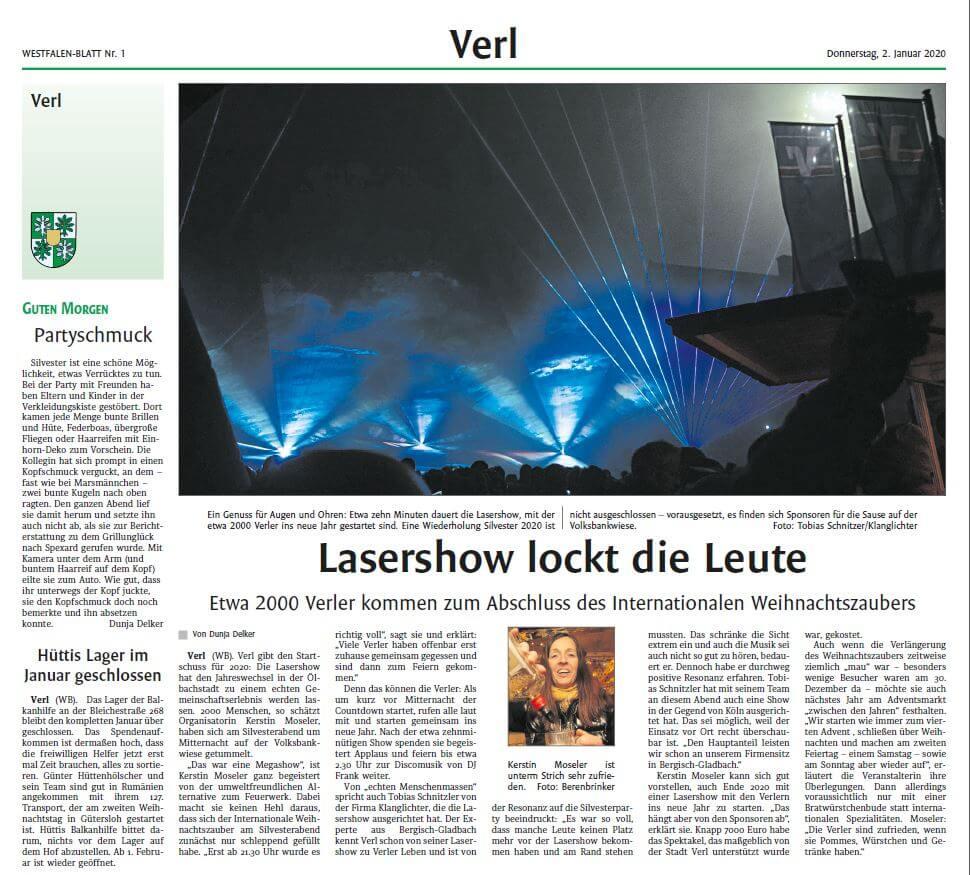 Zeitungsbericht zu Lasershow an Silvester