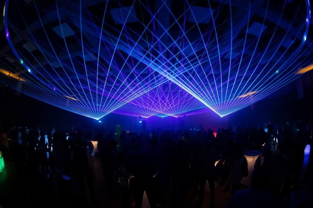Lasershow anlässlich einer Firmenfeier in einer Location