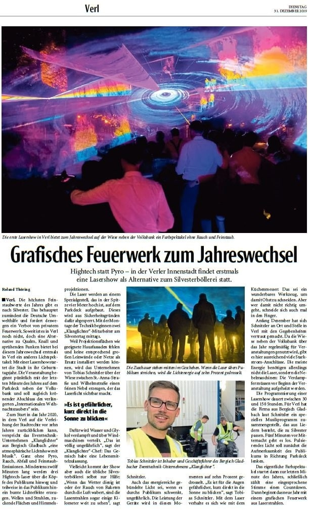 Zeitungsbericht für ein Laser Feuerwerk an Silvester