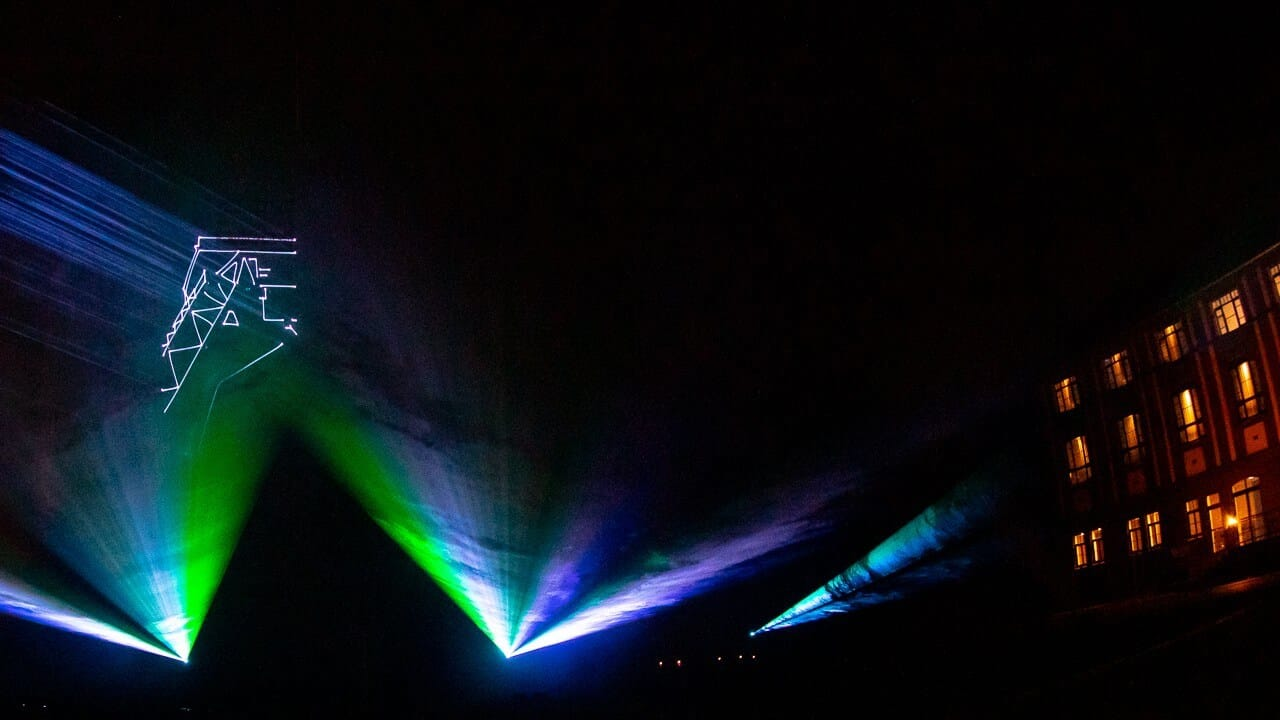 Lasershow Projektion der Geschichte der Stadt
