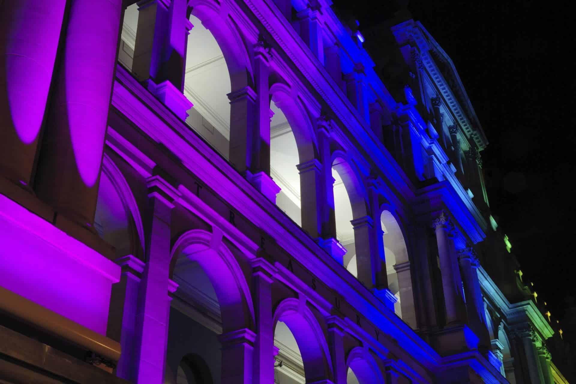 Lichtillumination eines Gebäudes
