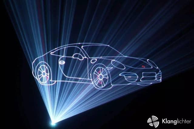 Outline, Umriss einer Lasershow Grafik Sportwagen