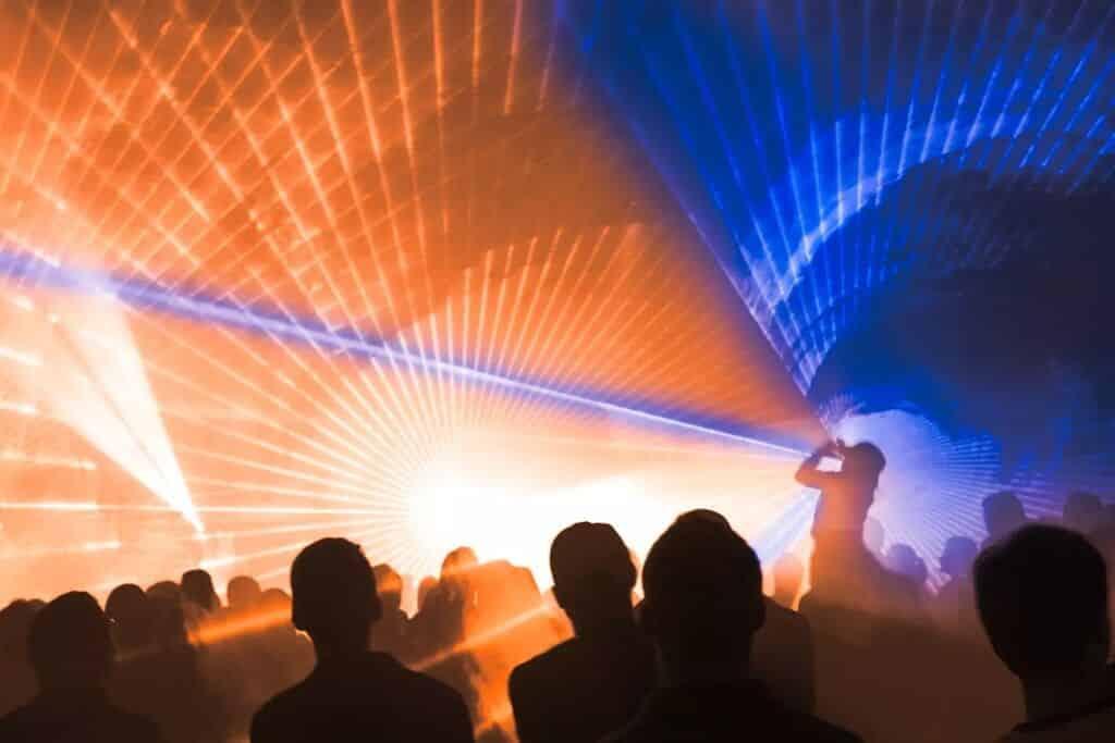 Lasershow anlässlich eines Stadtfest